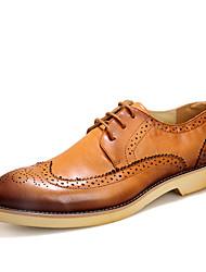 Для мужчин обувь Кожа Лето Осень Формальная обувь Туфли на шнуровке Для прогулок Назначение Для вечеринки / ужина Черный Коричневый