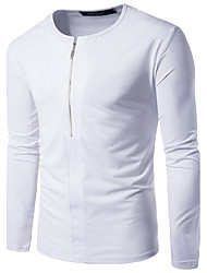 Men's Going out Casual/Daily Simple Fall T-shirt,Solid Round Neck Long Sleeves Cotton