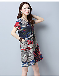Women's Casual/Daily A Line Dress,Floral Print Round Neck Knee-length Short Sleeve Cotton Summer Low Rise Micro-elastic Medium