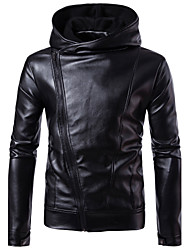 Men's Plus Size Going out Casual/Daily Simple Street chic Punk & Gothic Fall Winter Leather Jacket,Solid Hooded Long Sleeve Regular PUFur
