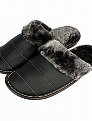 Men's Indoor Slippers Genuine Leather Closed Toe Slip On Fur Lined Bedroom Shoes