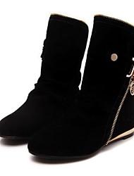 Для женщин Обувь Флис Зима Модная обувь Ботинки На плоской подошве Ботинки Назначение Повседневные Черный Лиловый Желтый Красный