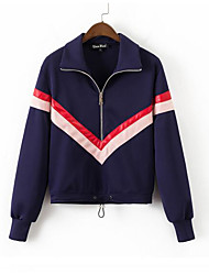 Women's Going out Sweatshirt Color Block Shirt Collar Micro-elastic Others Long Sleeve Spring Fall