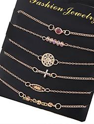 Lureme® Women's Bracelet Jewelry Basic Gothic Handmade Fashion Bohemian Punk Two-tone Adjustable Hip-Hop Hypoallergenic Alloy Circle Geometric For