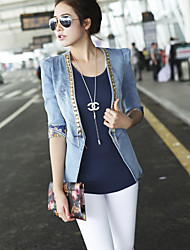 Women's Going out Simple Winter Denim Jacket,Solid Shirt Collar Long Sleeve Regular Polyester