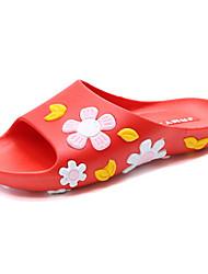 Women's Slippers & Flip-Flops Comfort Summer PU Casual Flower Flat Heel White Black Ruby Flat
