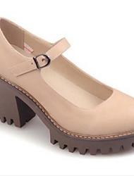 Damen Schuhe PU Sommer Herbst Komfort Outdoor Blockabsatz Für Normal Schwarz Beige Grau
