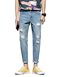 Homme simple Taille Normale non élastique Jeans Pantalon,Mince Droite Déchiré Couleur Pleine