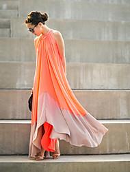 Tunique Robe Femme Soirée Vacances Sortie Mosaïque Col Arrondi Maxi Sans Manches Polyester Printemps Taille Normale Micro-élastique Fin