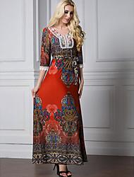 Women's Casual/Daily Simple Shift Dress,Print Round Neck Maxi Long Sleeves Cotton Summer High Rise Micro-elastic Medium
