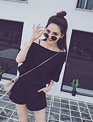 Women's Casual/Daily Simple Summer T-shirt Pant Suits,Solid One Shoulder ¾ Sleeve