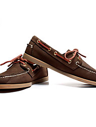 Men's Shoes Cowhide Spring Fall Comfort Boat Shoes For Casual Dark Brown