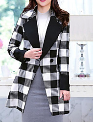 Women's Going out Casual/Daily Work Simple Winter Coat,Plaid Stand Long Sleeve Long Cashmere Wool