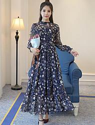 Для женщин На выход Оболочка Платье Цветочный принт,Воротник-стойка Макси Длинный рукав Полиэстер Лето Со стандартной талией