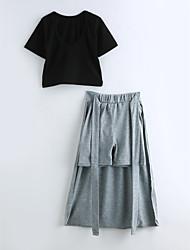 Girls' Solid Sets,Cotton Summer Short Sleeve Clothing Set