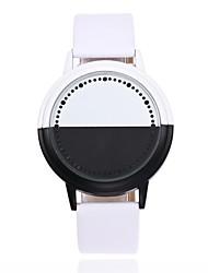 Муж. Модные часы Уникальный творческий часы Китайский Кварцевый LED Кожа Группа Повседневная Креатив Черный Белый