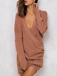Для женщин На каждый день На выход Простое Обычный Пуловер Однотонный,V-образный вырез Длинный рукав Акрил Полиэстер Весна ОсеньСредняя