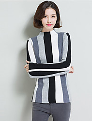 Standard Pullover Da donna-Casual Vintage A strisce A collo alto Manica lunga Cashmere Autunno Inverno Medio spessore Media elasticità