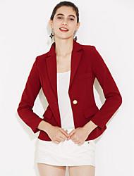 Mulheres Blazer Casual / Trabalho Simples Outono,Sólido Azul / Vermelho / Cinza Poliéster Lapela Pontuda Manga Longa Média