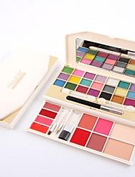 2 Coloretes Polvo Compacto+Sombras de Ojos+Barras de Labios+Copitos de Algodón Pinceles de Maquillaje Brillo Cara Ojos Labios