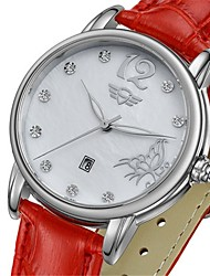 Kadın's Moda Saat Quartz Deri Bant Kırmızı