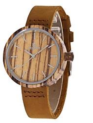 Mulheres Relógio de Moda Relógio Madeira Japanês Quartzo de madeira Couro Legitimo Banda Pendente Casual Marrom