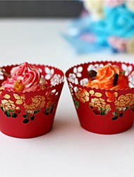 50pcs/lot Red flowers laser Cut Cupcake cake Wrappers Cup Paper For Wedding Birthday Baby Shower Tea Party Decoration