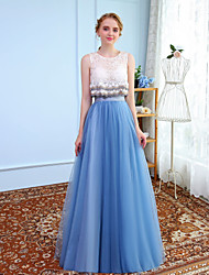 Ball Gown Jewel Neck Floor Length Tulle Graduation Prom Formal Evening Dress with Beading Lace by MMHY