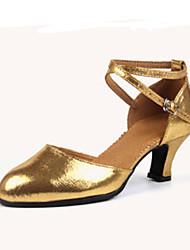 """Women's Latin Jazz Flocking Leather Heels Practice Beginner Outdoor Performance Buckle Customized Heel Sliver Ruby Golden 1"""" - 1 3/4"""""""