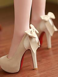 Damen Schuhe PU Frühling Herbst Komfort High Heels Stöckelabsatz Runde Zehe Mit Für Normal Schwarz Beige Kamel
