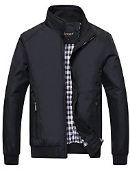 Men's Plus Size Going out Casual/Daily Vintage Active Punk & Gothic Fall Winter Jacket,Solid Stand Long Sleeve Regular Polyester