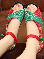 Mujer Sandalias Confort Verano Tejido Casual Pantalla de color Plano