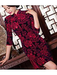 Moulante Robe Femme Soirée Sexy Vintage Chinoiserie,Fleur Broderie Mao Au dessus du genou Manches 3/4 Acrylique Polyester Eté Taille