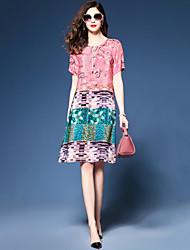 Feminino Solto Chifon Vestido,Festa Para Noite Tamanhos Grandes Vintage Simples Estampado Estampa Colorida Decote RedondoAltura dos