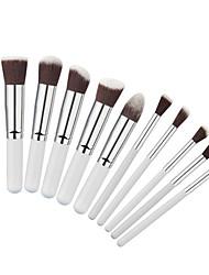 10 Pcs Makeup Brushes Kit Fashion Mini Soft Face White Synthetic Kabuki Beauty Cosmetics Foundation Blending Blush Brush