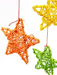 10pcs / pack 6cm симпатичные ротанга звезды рождества / рождения / украшения партии венчания diy украшения ротанг мяч дети игрушки
