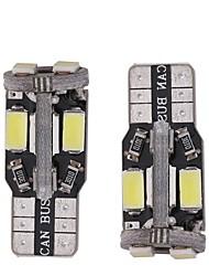 2pcs 3w blanc dc12v t10 10led 5730smd canbus led auto lampes voiture instrument lumière lampe décorative lampe de lecture plaque