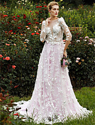A-Line Princess Plunging Neckline Chapel Train Lace Wedding Dress with Flower(s) Tiered by LAN TING BRIDE®