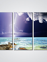 Stretched Giclee Print  Flashing Lightning Picture Printed on Canvas  Ready to Hang 30x60cmx3pcs