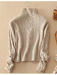 Для женщин Спорт На каждый день Очаровательный Обычный Пуловер Однотонный,Круглый вырез Длинный рукав Шерсть Весна Осень Средняя