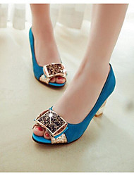 Women's Sandals Comfort PU Summer Casual Royal Blue Light Blue Ruby Black 3in-3 3/4in