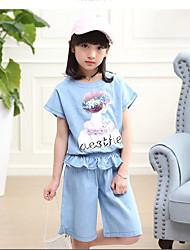 Girls' Polka dots Sets,Cotton Summer Short Sleeve Clothing Set