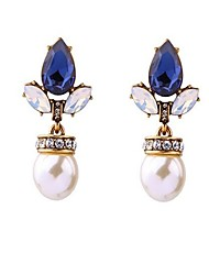 Mujer Pendientes cortos Perla artificial Cristal La imitación de zafiro Sexy Moda Personalizado De Gran Tamaño Legierung Gota Joyas Para