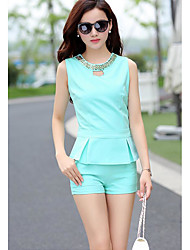 Women's Going out Simple Summer Tank Top Pant Suits,Solid Round Neck Sleeveless