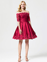Princess Off-the-shoulder Knee Length Lace Satin Cocktail Party Dress with Sash / Ribbon Pleats by TS Couture®