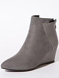 Для женщин Ботинки Модная обувь Формальная обувь Дерматин Зима Для праздника Для вечеринки / ужина Молнии Черный Серый Красный 4,5 - 7 см