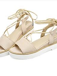 Women's Sandals Gladiator Fabric Summer Casual Gladiator Flat Heel Yellow Gray Beige Black Flat
