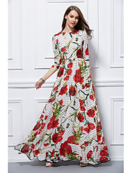 Sheath / Column Jewel Neck Floor Length Chiffon 3/4 Sleeves Print Formal Evening Dress