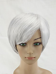 2 Tones Gray White Mixed  Woman Short Straight Natural Synthetic Hair Wigs High Temperature Fiber