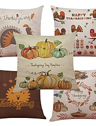 Set of 5 Thanksgiving Turkey Linen Cushion Cover Home Office Sofa Square Pillow Case Decorative Cushion Covers Pillowcases Without Insert(18*18Inch)